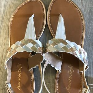 Gold, white and Silver Sandals